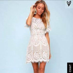 Lulus White Lace Pearson Dress. Size XS